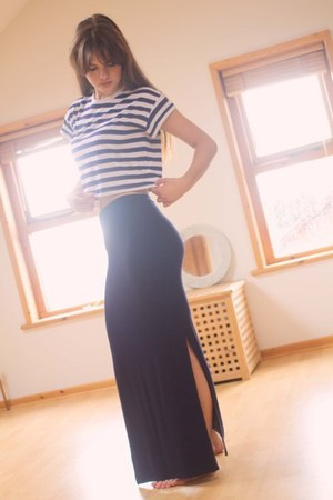 navy maxi skirt Primark skirt - white striped H&M t-shirt