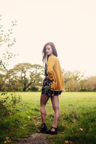 mustard knitted handmade cardigan - black patent Topshop boots