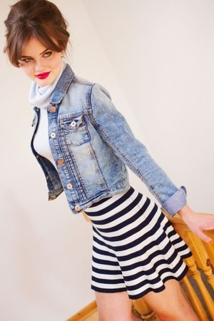 sky blue denim jacket TK Maxx jacket - navy striped Primark skirt