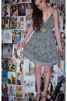 gray Sears yup shoes - blue Delias dress - beige flea market necklace