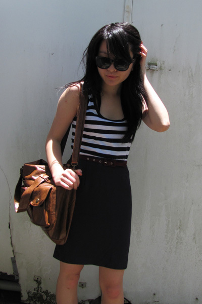 white top - purple skirt - red belt - brown purse - black sunglasses