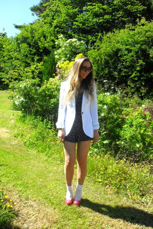 white Zara blazer - black Zara dress - red Topshop shoes - brown vintage sunglas