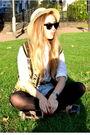 White-vintage-blouse-black-vintage-jacket-blue-vintage-shorts-brown-topsho
