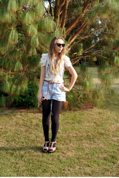 white vintage blouse - blue vintage shorts - brown vintage belt - Topshop shoes