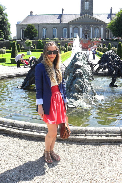 blue Zara blazer - yellow vintage blouse - red Zara skirt - gray Topshop shoes -