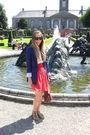 Blue-zara-blazer-yellow-vintage-blouse-red-zara-skirt-gray-topshop-shoes-