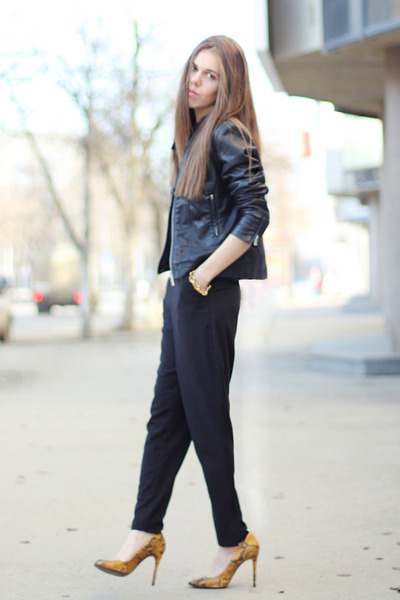 Zara heels - warehouse jacket - ALC pants - Michael Kors watch
