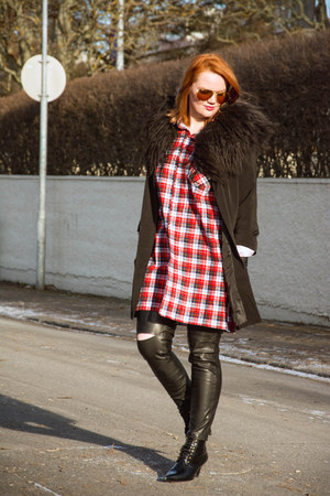 faux leather Zara pants - Mango boots - checkered shirt