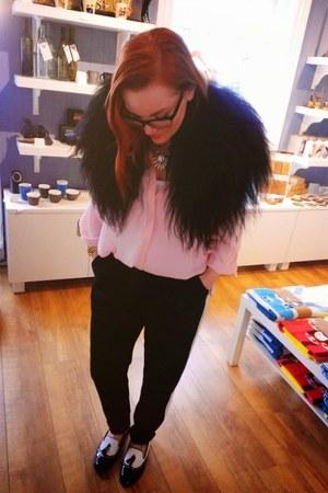 chiffon pink Dorothy Perkins blouse - black lindex pants - Bata flats