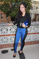 black H&M blazer - colorblock leggings - black Forever 21 shirt