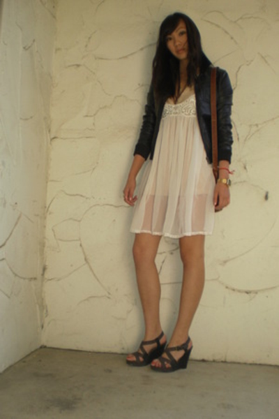 H&M jacket - tresics top - vintage dress - Old Navy shoes