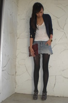 thrift blazer - H&M shirt - abercrombie and fitch skirt - Old Navy shoes
