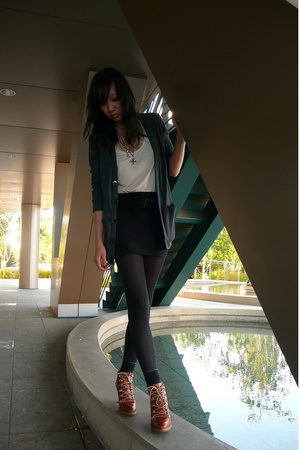 gray cardi aa coat - black aa - pink H&M top - brown lace up boots Michael Kors