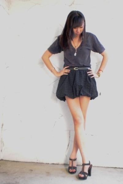 American Apparel t-shirt - luella bartley for target skirt - vintage belt - Old