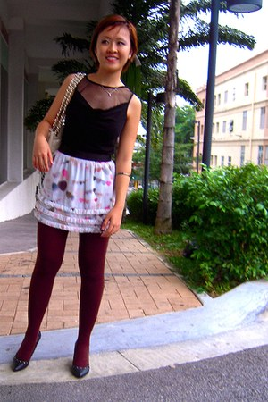 Charles & Keith bag - pull&bear shoes - vintage top - Topshop skirt - tights