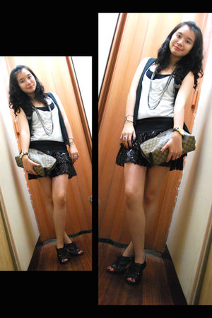 black skirt - white top - brown accessories - gold accessories