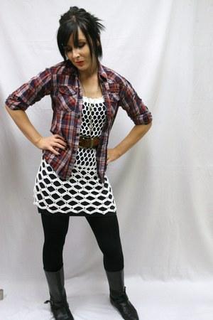 riding boots vintage boots - crochet vintage dress - Target shirt - brown leathe