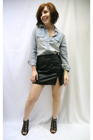 denim merona shirt - leather vintage skirt - Kelsi Dagger wedges