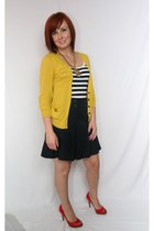 thrifted skirt - mustard yellow Forever21 cardigan - thrifted JCrew top