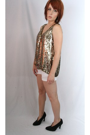 gold sequin thrifted vintage top - white denim Polo shorts