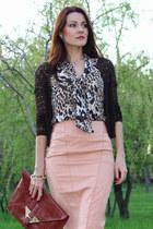 asos skirt - Shoe Mart shoes - asos bag - Mango cardigan - asos blouse