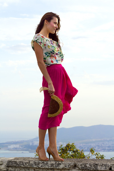 cream Mango top - hot pink asoscom skirt