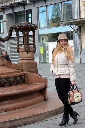 black Dolcis boots - beige H&M jacket - tan Primark bag