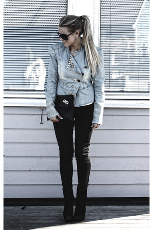 black calvin klein shoes - black Tiger of Sweden jeans - light blue DIY jacket