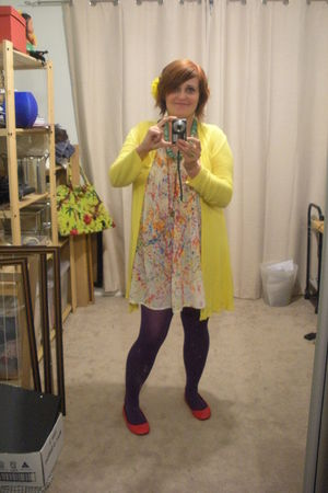 dress - purple Target tights - red cotton on shoes - yellow cotton on cardigan -