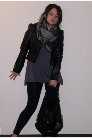 H&M jacket - deena and ozzy scarf - Fluxus t-shirt - Forever 21 leggings - Candi