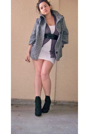 black Forever 21 coat - white American Apparel dress - gray vintage cardigan - b
