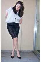 white She Said shirt - black free people skirt - black calvin klein shoes - Fore