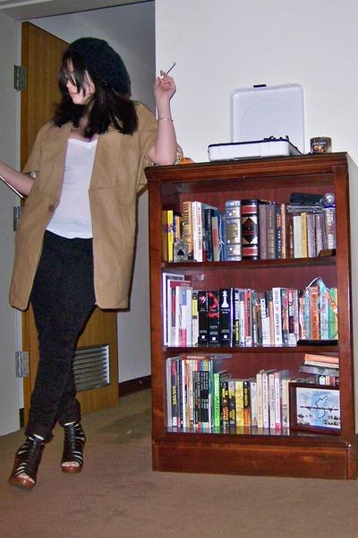 brown Beulah via Modcloth jacket - white LnA t-shirt - black Zara pants - black