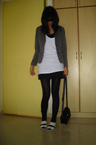 blazer - Topshop - Mango skirt - Charles & Keith shoes - purse - tights