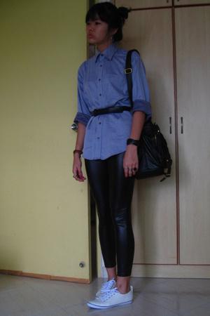 alain delon shirt - American Apparel - purse - shoes