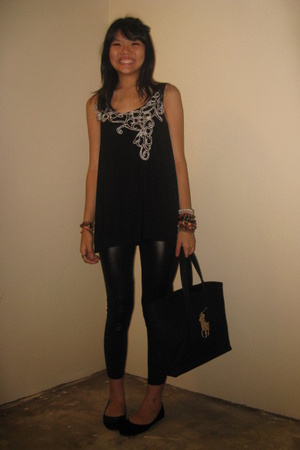 black top - black shoes - black leather Dorothy Perkins jacket