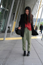 black H&M coat - pebbled leather Alexander Wang bag - green Sass and Bide pants