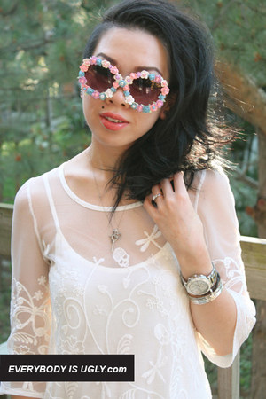 peach floral sunglasses