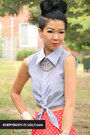sky blue cropped blouse
