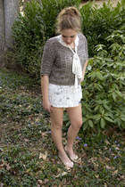 light brown Urban Outfitters sweater - blue shorts BCBG shorts