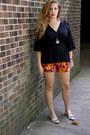 Red-floral-print-loft-shorts-black-loose-unknown-top-tan-bow-talbots-flats