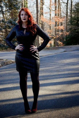 black sequined Piperlime Collection dress - black back seamed bow Macys tights