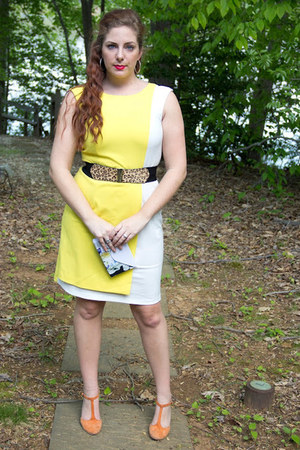 yellow lemon yellow unknown dress - black leopard print bcbg max azria belt