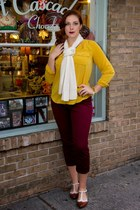 mustard mustard top top - bronze shoes - cream cashmere scarf