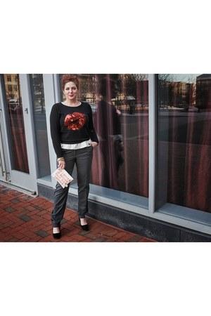 heather gray tuxedo stripe Loft pants - black sequined Macys sweatshirt