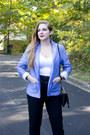 Sky-blue-linen-talbots-blazer-black-clutch-danielle-nicole-bag