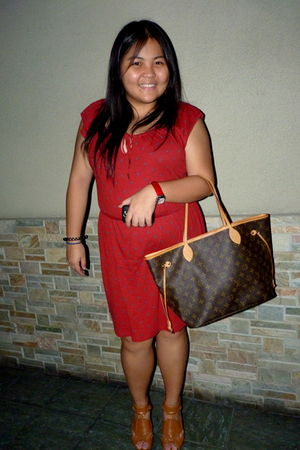 red Forever21 dress - brown Local store shoes - Louis Vuitton - red Philip Stein