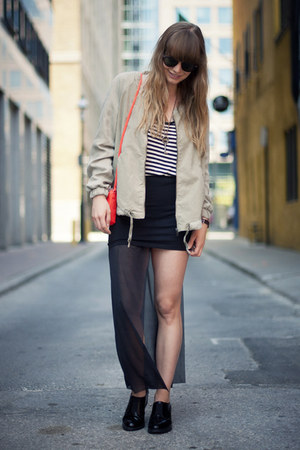 Cheap Monday skirt - Topshop shoes - Zara jacket - H&M bag - zeroUV sunglasses