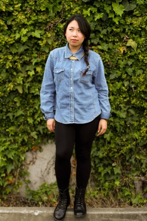 sky blue jean Levi shirt - black faux leather H&M boots
