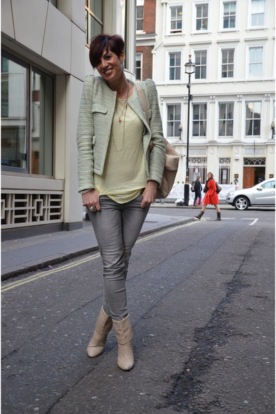lime green Zara blazer - silver Zara jeans - light yellow Zara t-shirt